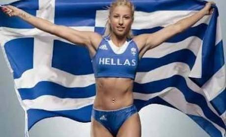 Greklands trestegshoppare Voula Papachristou, stoppades tävla i OS av politiska skäl.
