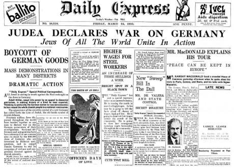 Judarna förklarade krig mot Tyskland flera år innan andra världskriget.