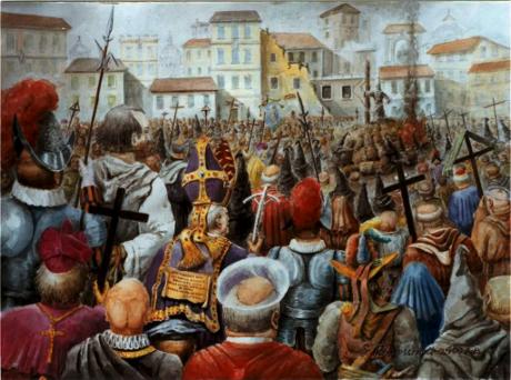 """År 1600 dömdes Giordani Bruno till döden för kätteri då han gett sitt stöd till Copernicus teser. Bruno hade tagit det hela ett steg längre, han menade att universum är oändligt och andra världar sannolikt också befolkades av intelligenta varelser. Detta var ett allvarligt brott mot den rådande """"sanningen"""" och Bruno brändes på bål bland annat för att hans åsikter """"stred mot den katolska läran"""" och """"hävdar existensen av en mångfald av andra världar och deras evighet""""."""