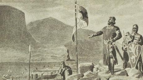 Kung Sverre talar till sina män inför slaget vid Fimreite.