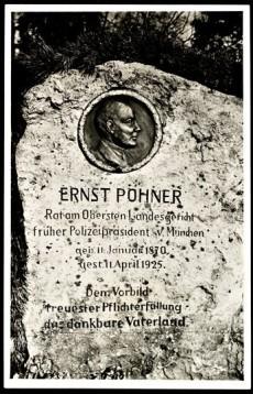 Minnessten för Ernst Pöhner i Burg Hoheneck, Tyskland. Rest 1934.