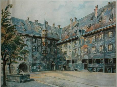 """""""Det gamla residensets slottsgård i München"""" av Adolf Hitler."""