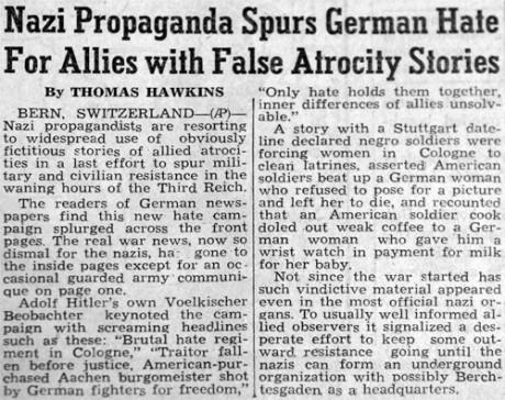 """1945 varnade nyhetsbyrån Associated Press för """"nazipropaganda"""" som hittade på """"falska skräckhistorier"""" om de allierade. Austin Apps """"skräckhistorier"""" visade sig dock senare vara sanna."""