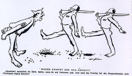 """""""Marschera, pojkar,marschera! Senare när vi är veteraner kan vi använda vår träning i hungermarscher i Washington"""" - Das Reich från 9 januari 1944"""