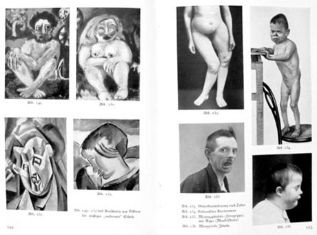 En sida med bildillustrationer ur Konst och ras som illustrerar degenererad konst.