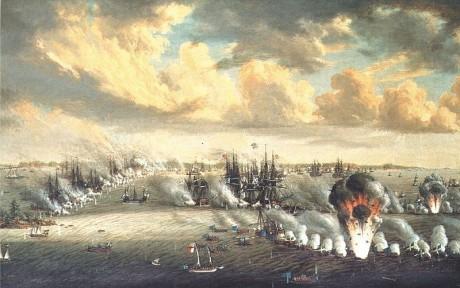 Krigsdeltagaren Johan Tietrich Schoultzs oljemålning av Slaget vid Svensksund.