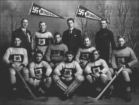 """Hakkors, denna uråldriga ariska symbol för lycka och framgång, var inte helt ovanlig inom den kanadensiska sportvärlden. Symbolerna och namnbruket återfanns bland annat hos ishockeylagen The Windsor Swastikas och Fernie Swastikas, vilka grundades decennier innan """"Swastika Club""""."""