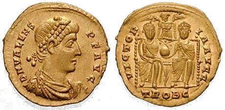 Ett romerskt mynt från ca 376 med avbildning av kejsar Valens.