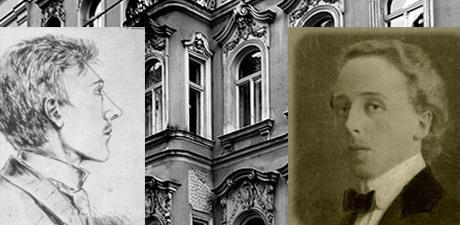 Till vänster den unge Hitler och till höger Kubizek. I bakgrunden den lägenhet som de båda delade i Wien.