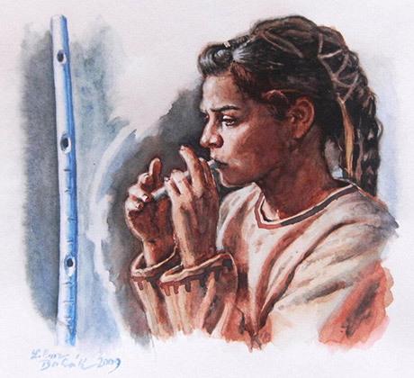 Hur en konstnär föreställer sig en flöjtspelande kvinna från Aurignacienkulturen.