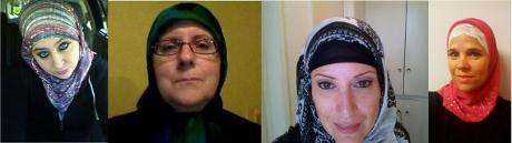 """Kampanjen """"hijabuppropet"""" är i själva verket ett plagiat. Kvinnorna på bilden deltog förra året i en internationell motsvarighet till det som nu skett i Sverige."""