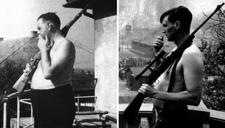 """Verklighet vs fiktion på film. Till vänster står den historiska Amon Göth, till höger versionen """"Schindler's List"""" med lägerfångar som levande måltavlor."""