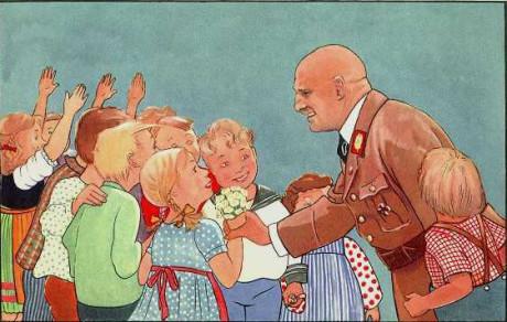 Rupprecht visar Julius Streicher som leder barnen rätt. Bild från Trau keinem Fuchs auf grüner Heid und keinem Jud auf seinem Eid.