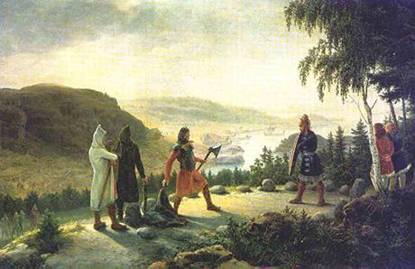 Egil Skallagrim går holmgång mot Berg-Önund. Målning av Johannes Flintoe.