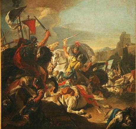 Romarna lyckades till sist besegra kimbrerna och teuotenerna. Här Gaius Marius seger. Målning av Giovanni Battista Tiepolo (1696–1770).