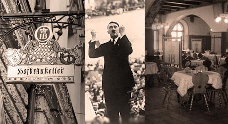 Hofbräukeller finns kvar än idag. Bilden i mitten är tagen från ett annat sammanhang än det som beskrivs i artikeln.