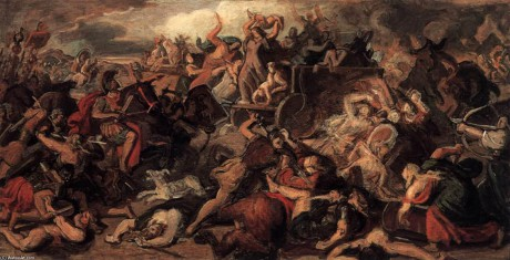 """Battle of the Cimbrians"". Målning av Carl Rahl."