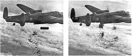 Brittiska Lancasterbombare fäller sprängbomber (t.v.) och brandbomber (t.h.).
