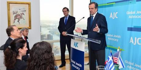 Statsminister Antonis Samaras talar i New York.
