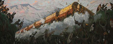 Slaget vid Blood river var ett avgörande slag mellan 500 boer och över 10 000 zulukrigare.