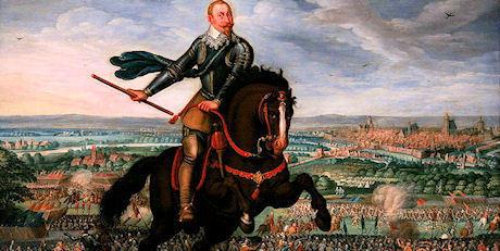 Gustav II Adolf vid det första slaget vid Breitenfeld, 1631.