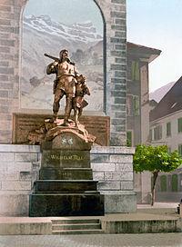 Staty över Wilhelm Tell i Altdorf, Uri, Schweiz.