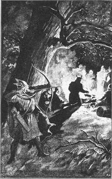 Palnetoke förbereder sig för att döda kung Harald. Av Jenny Nyström år 1895. Klicka för större bild.
