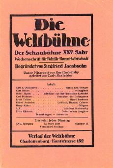 Die Weltbühne, en tyskfientlig intellektuell tidskrift.