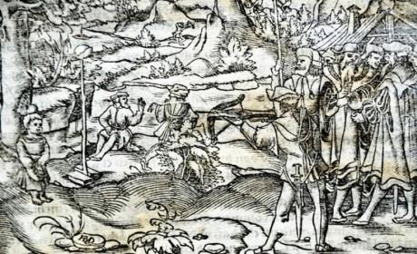 Wilhelm Tell av Sebastian Münster 1554.