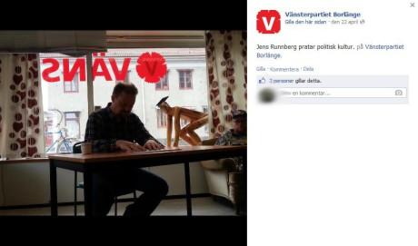"""Kanske menar Jens Runnberg på att även """"liberala"""" plattformer kan användas till att sprida kommunistiska idéer ifrån. Här syns Runnberg då han gästar det lokala kommunisthaket i Borlänge och pratar """"politisk kultur"""", den 22:a april, 2013."""