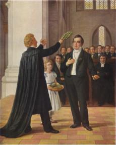 Esaias Tegnér sätter en lagerkrans på Adam Oehlenschlägers huvud i Lund 1829. Målad av Constantin Hansen (1804–1880).