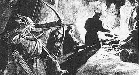 Palnetoke förbereder sig för att döda kung Harald. Av Jenny Nyström år 1895.