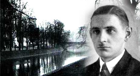 Hans Kütemeyer. Till vänster den flod där han dödades av kommunister.