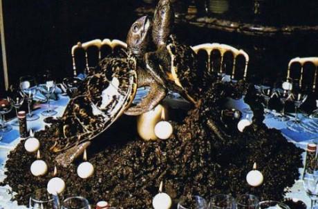 På ett annat bord fanns dekor av uppstoppade sköldpaddor omgivna av insekter.