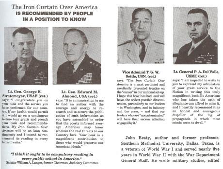 """John Beatys """"Iron Curtain Over America"""" rekommenderas av andra höga officerare som insåg att USA var infiltrerat."""