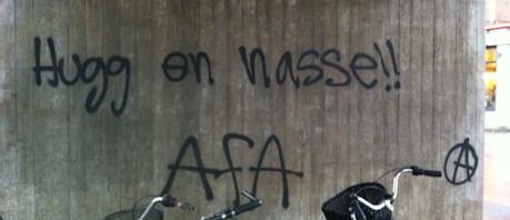 Vänsterextremistiskt klotter i Kärrtorp, från i söndags.