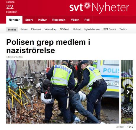 """FAKISMIL SVT. Verkligheten: """"Polisen griper en person i samband med manifestationen. Gripandet ska ha skett på misstanke om narkotiskabrott. Några övriga oroligheter har inte rapporterats in."""""""
