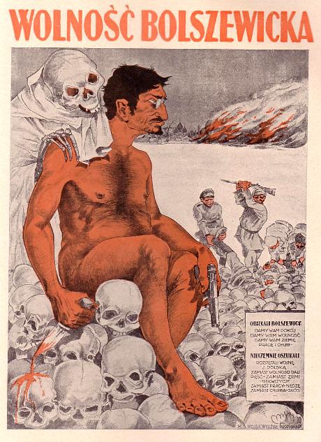 """""""Bolsjevikisk frihet"""" – Lev. Trotskij avbildad på polsk affisch. Trotskij var bland annat krigskommissarie för Röda armén och försvarade användandet av röd terror mot sina fiender."""