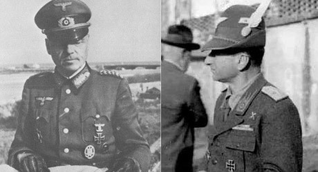 Den tyske generalen Otto Fretter-Pico och den italienske generalen Mario Carloni.