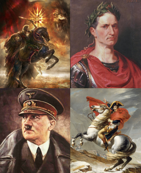 Alexander den store, Caesar, Napoleon och Hitler är fyra exempel på personer som aldrig kommer falla i glömska så länge det finns läskunniga människor på jorden, även om man i vissa av fallen kan komma att tvista om exakt hur domen borde lyda.