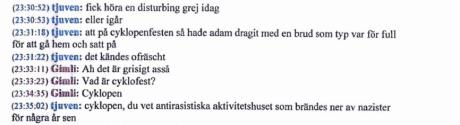 """Konversation mellan Linus Soinjoki Wallin (""""tjuven"""") och okänd (""""Gimli"""")."""