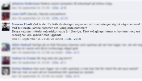 Showan i diskussion på Facebook.