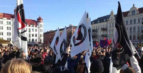 """Bilder från """"stöddemonstrationen"""" i Malmö"""