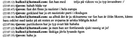 """Konversation mellan Linus Soinjoki Wallin (""""tjuven"""") och okänd."""