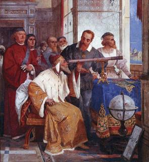 Galileo Galilei demonstrerar sitt teleskop.