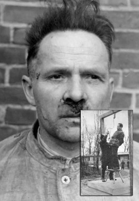 Rudolf Höss efter tortyr och då han avrättas.