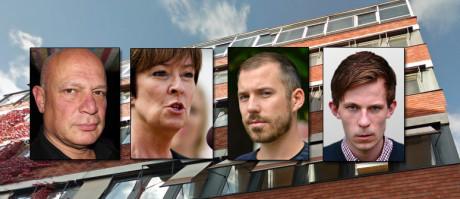 Några individer ur EXPO:s verksamhet (fr. vänster): Robert Aschberg, Mona Sahlin, Daniel Poohl, Alexander Bengtsson.