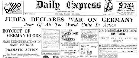 """""""Judea förklarar krig mot Tyskland""""."""