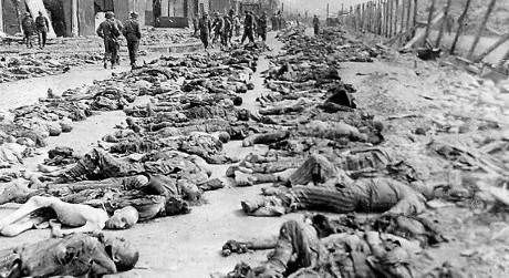 Kropparna efter en allierad massaker i Nordhausen.
