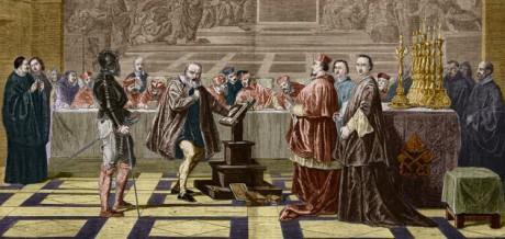 Rättegången mot Galileo Galilei. Målning av Joseph Nicolas Robert-Fleury.